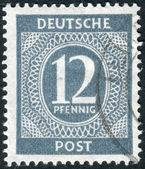Postage stamp printed in Germany, shows the face value stamps — Foto de Stock