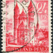 Postage stamp printed in Germany (Rhineland-Palatinate, French occupation zone), shown Worms Cathedral (Cathedral of St. Peter) — Stock Photo #44723199