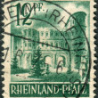 Postage stamp printed in Germany (Rhineland-Palatinate, French occupation zone), shows Porta Nigra, Trier — Stock Photo #44723731