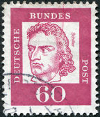 Postage stamp printed in Germany, shows portrait of Friedrich von Schiller — Stock Photo