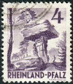 Postage stamp printed in Germany (Rhineland-Palatinate, French occupation zone), shows the Devil's Table (Hinterweidenthal) — Stock Photo