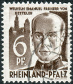 Postage stamp printed in Germany (Rhineland-Palatinate, French occupation zone), shows Wilhelm Emmanuel Freiherr von Ketteler — Stock Photo