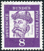 Postage stamp printed in Germany, shows portrait of Johannes Gutenberg — Stock Photo