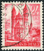 Postage stamp printed in Germany (Rhineland-Palatinate, French occupation zone), shown Worms Cathedral (Cathedral of St. Peter) — Stock Photo