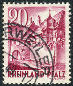Postage stamp printed in Germany (Rhineland-Palatinate, French occupation zone), shows a Street Corner, Sankt Martin — Stock Photo