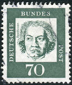 Postage stamp printed in Germany, shows portrait of Ludwig van Beethoven — Zdjęcie stockowe