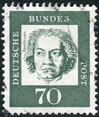 Postage stamp printed in Germany, shows portrait of Ludwig van Beethoven — Zdjęcie stockowe