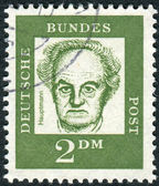 Postage stamp printed in Germany, shows portrait of Gerhart Hauptmann — Stock Photo
