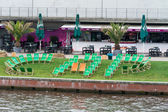 Empty cafe on the embankment in the center of Berlin's Spree — Stock Photo