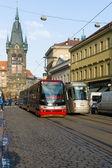 Prague tram on the street. — Stock Photo