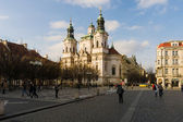 St. Nicholas Church at the Old Town Square in the heart of Old Town of the Prague. — Stock Photo