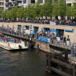 Постер, плакат: Pleasure boat on the river Spree Traditional pastime visitors and residents of of Berlin