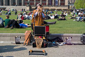 Performance of a street performer. Indian music — Stock Photo