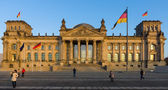 The Reichstag building at sunset. The Reichstag building is a historical edifice in Berlin. — Stock Photo