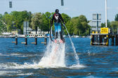 Demonstration performance at Flyboard. 2nd Berlin water sports festival in Gruenau. — Zdjęcie stockowe