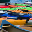 Sport boats, kayaks and canoes at the marina. — Stock Photo #46283389