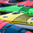 Sport boats, kayaks and canoes at the marina. — Stock Photo #46283411