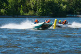 Demonstration rides on speedboats. 2nd Berlin water sports festival in Gruenau — Stock Photo