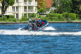 Trip to visitors on a powerful motorboat. 2nd Berlin water sports festival in Gruenau — Stock Photo