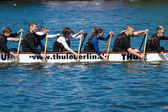 Rowers in a boat. 2nd Berlin water sports festival in Gruenau. — Stock Photo