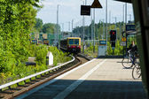 Arrival S-Bahn to the station Grunau. Berlin — Stock Photo