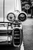 BERLIN, GERMANY - MAY 17, 2014: The rear brake lights of oldtimer Cadillac Series 62 (Fifth generation). Black and white. 27th Oldtimer Day Berlin - Brandenburg — Stock Photo