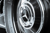 BERLIN, GERMANY - MAY 17, 2014: Wheel (cap) of the luxury car Mercedes-Benz Typ 290 (W18), 1933. Close up. Black and white. 27th Oldtimer Day Berlin - Brandenburg — Stock Photo