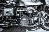 BERLIN, GERMANY - MAY 17, 2014: Engine of the motorcycle Munch Mammoth 1200 TTS. Black and white. 27th Oldtimer Day Berlin - Brandenburg — Zdjęcie stockowe