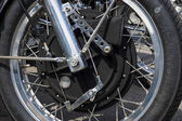 BERLIN, GERMANY - MAY 17, 2014: Unique magnesium front brake of the motorcycle 1200 Munch Mammoth TTS. 27th Oldtimer Day Berlin - Brandenburg — Foto de Stock