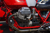 BERLIN, GERMANY - MAY 17, 2014: Engine of the Italian motorcycle Moto Guzzi V7. 27th Oldtimer Day Berlin - Brandenburg — Foto de Stock