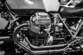 BERLIN, GERMANY - MAY 17, 2014: Engine of the Italian motorcycle Moto Guzzi V7. Black and white. 27th Oldtimer Day Berlin - Brandenburg — Zdjęcie stockowe