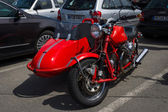 BERLIN, GERMANY - MAY 17, 2014: Motorcycle with sidecar, Moto Guzzi V7. 27th Oldtimer Day Berlin - Brandenburg — Foto de Stock