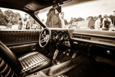 BERLIN, GERMANY - MAY 17, 2014: Cab of the mid-size car Plymouth Satellite (Third Generation). Sepia. 27th Oldtimer Day Berlin - Brandenburg — Stock Photo