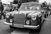 BERLIN, GERMANY - MAY 17, 2014: Compact executive car Mercedes-Benz 190 (W121). Black and white. 27th Oldtimer Day Berlin - Brandenburg — Stock Photo