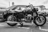 BERLIN, GERMANY - MAY 17, 2014: Italian motorcycle Moto Guzzi V7. Black and white. 27th Oldtimer Day Berlin - Brandenburg — Стоковое фото
