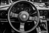 BERLIN, GERMANY - MAY 17, 2014: Cab of the roadster Alfa Romeo Spider (Third generation). Black and white. 27th Oldtimer Day Berlin - Brandenburg — Stock Photo
