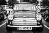 BERLIN, GERMANY - MAY 17, 2014: Small economy car Austin Mini Cooper. Black and white. 27th Oldtimer Day Berlin - Brandenburg — Stock Photo