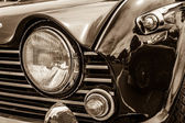 BERLIN, GERMANY - MAY 17, 2014: Fragment of the sports car Triumph TR5. Sepia. 27th Oldtimer Day Berlin - Brandenburg — Foto de Stock