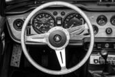 BERLIN, GERMANY - MAY 17, 2014: Cabin of the sports car Triumph TR5. Black and white. 27th Oldtimer Day Berlin - Brandenburg — Stock Photo