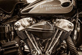 BERLIN, GERMANY - MAY 17, 2014: Twin Cam engine of the motorcycle Harley-Davidson. Sepia. 27th Oldtimer Day Berlin - Brandenburg — Stockfoto