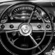 Постер, плакат: BERLIN GERMANY MAY 17 2014: Cabin of the personal luxury car Ford Thunderbird first generation Black and white 27th Oldtimer Day Berlin Brandenburg