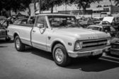 BERLIN, GERMANY - MAY 17, 2014: Full-size pickup truck Chevrolet C20. Black and white. 27th Oldtimer Day Berlin - Brandenburg — Stock Photo