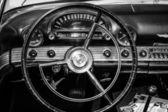 BERLIN, GERMANY - MAY 17, 2014: Cabin of the personal luxury car Ford Thunderbird (first generation). Black and white. 27th Oldtimer Day Berlin - Brandenburg — Stock Photo