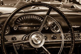 BERLIN, GERMANY - MAY 17, 2014: Cabin of the personal luxury car Ford Thunderbird (first generation). Sepia. 27th Oldtimer Day Berlin - Brandenburg — Stock Photo