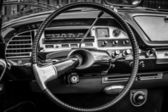 BERLIN, GERMANY - MAY 17, 2014: Cab of the mid-size luxury car Citroen DS21. Black and white. 27th Oldtimer Day Berlin - Brandenburg — Stock Photo