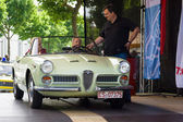 BERLIN, GERMANY - MAY 17, 2014: Leading exhibition takes interview driver Italian car Alfa Romeo Giulietta Spider. 27th Oldtimer Day Berlin - Brandenburg — Stock Photo