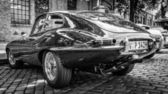 BERLIN, GERMANY - MAY 17, 2014: Sports car Jaguar E-Type 4.2. Rear view. Black and white. 27th Oldtimer Day Berlin - Brandenburg — Stock Photo