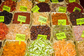 Variety of dried fruit on the counter. Bazaar. Turkey. — Stock Photo