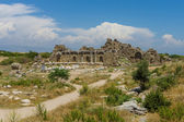 Ruins of ancient Greek, later the Roman town of Side. Founded in the 7th century BC. Mediterranean, Anatolian coast. — Stock Photo