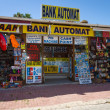 A shop selling souvenirs and currency exchange. Anatolian coast - a popular holiday destination in summer of European citizens. — Stockfoto